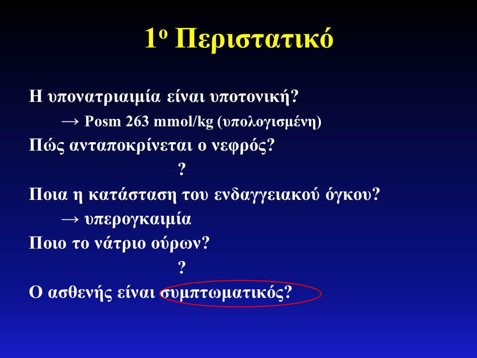 1 ο Περιστατικό Η υπονατριαιμία είναι υποτονική? → Posm 263 mmol/kg (υπολογισμένη) Πώς ανταποκρίνεται ο νεφρός? ? Ποια η κατάσταση του ενδαγγειακού όγ