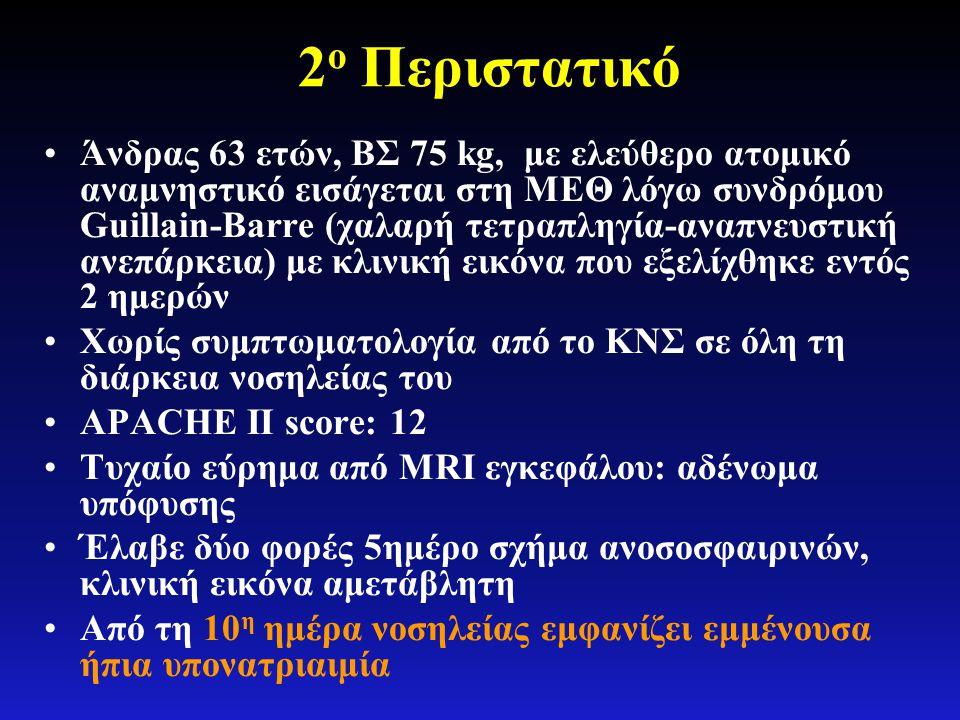 2 ο Περιστατικό •Άνδρας 63 ετών, ΒΣ 75 kg, με ελεύθερο ατομικό αναμνηστικό εισάγεται στη ΜΕΘ λόγω συνδρόμου Guillain-Barre (χαλαρή τετραπληγία-αναπνευ