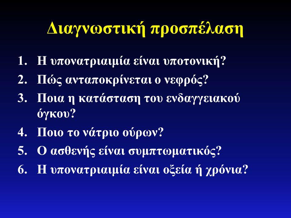 Διαγνωστική προσπέλαση 1.Η υπονατριαιμία είναι υποτονική? 2.Πώς ανταποκρίνεται ο νεφρός? 3.Ποια η κατάσταση του ενδαγγειακού όγκου? 4.Ποιο το νάτριο ο