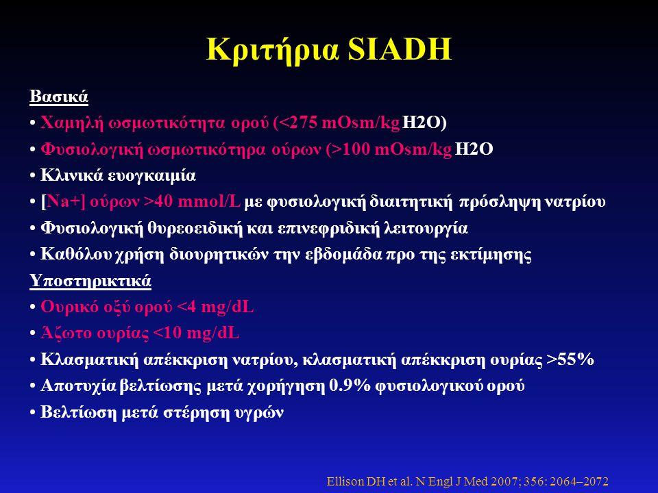 Κριτήρια SIADH Βασικά • Χαμηλή ωσμωτικότητα ορού (<275 mOsm/kg H2O) • Φυσιολογική ωσμωτικότηρα ούρων (>100 mOsm/kg H2O • Κλινικά ευογκαιμία • [Na+] ού
