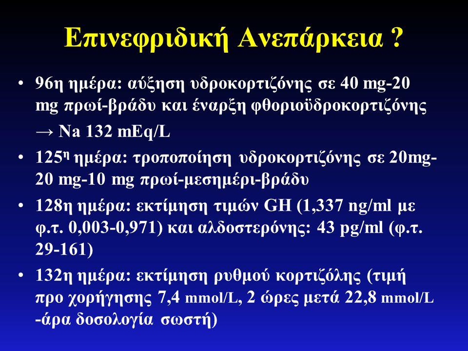 Επινεφριδική Ανεπάρκεια ? •96η ημέρα: αύξηση υδροκορτιζόνης σε 40 mg-20 mg πρωί-βράδυ και έναρξη φθοριοϋδροκορτιζόνης → Νa 132 mEq/L •125 η ημέρα: τρο