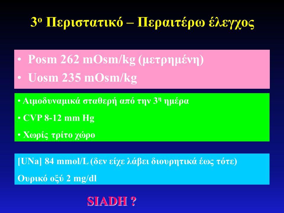 3 ο Περιστατικό – Περαιτέρω έλεγχος •Posm 262 mOsm/kg (μετρημένη) •Uosm 235 mOsm/kg • Αιμοδυναμικά σταθερή από την 3 η ημέρα • CVP 8-12 mm Hg • Χωρίς