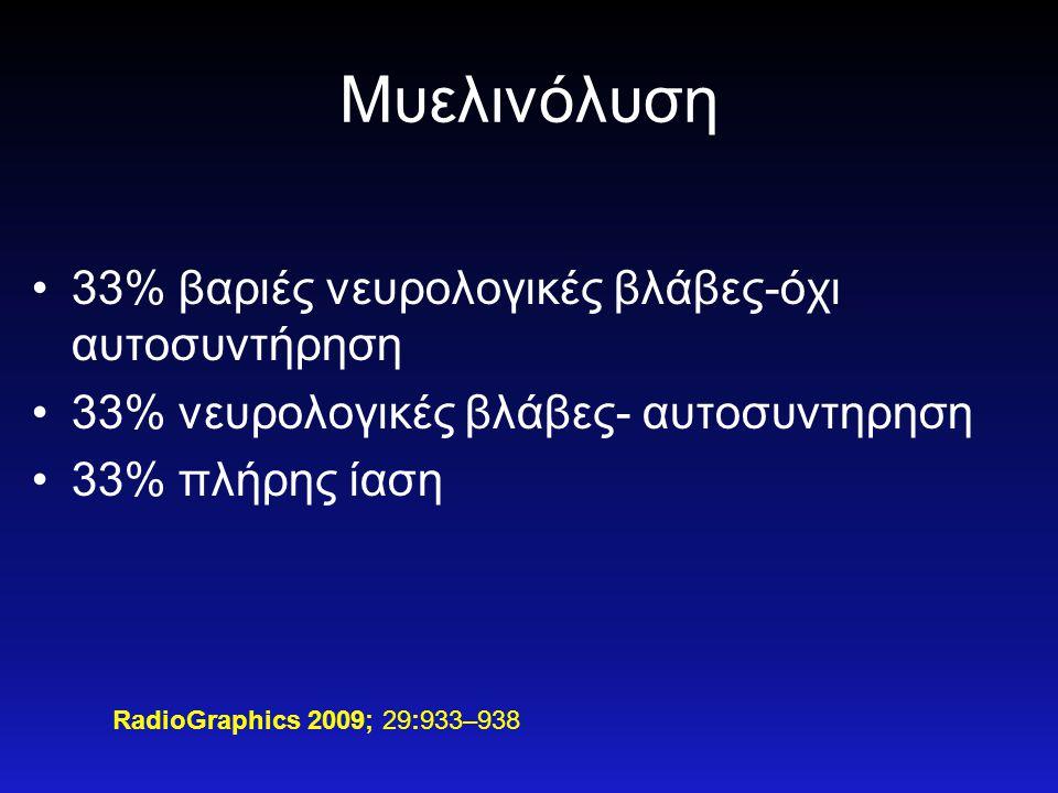 Μυελινόλυση •33% βαριές νευρολογικές βλάβες-όχι αυτοσυντήρηση •33% νευρολογικές βλάβες- αυτοσυντηρηση •33% πλήρης ίαση RadioGraphics 2009; 29:933–938