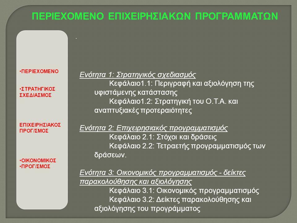 •ΠΕΡΙΕΧΟΜΕΝΟ •ΣΤΡΑΤΗΓΙΚΟΣ ΣΧΕΔΙΑΣΜΟΣ ΕΠΙΧΕΙΡΗΣΙΑΚΟΣ ΠΡΟΓ/ΣΜΟΣ •ΟΙΚΟΝΟΜΙΚΟΣ •ΠΡΟΓ/ΣΜΟΣ ΠΕΡΙΕΧΟΜΕΝΟ ΕΠΙΧΕΙΡΗΣΙΑΚΩΝ ΠΡΟΓΡΑΜΜΑΤΩΝ Ενότητα 1: Στρατηγικός σχεδιασμός Κεφάλαιο1.1: Περιγραφή και αξιολόγηση της υφιστάμενης κατάστασης Κεφάλαιο1.2: Στρατηγική του Ο.Τ.Α.