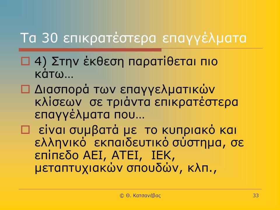 © Θ. Κατσανέβας33 Τα 30 επικρατέστερα επαγγέλματα  4) Στην έκθεση παρατίθεται πιο κάτω…  Διασπορά των επαγγελματικών κλίσεων σε τριάντα επικρατέστερ