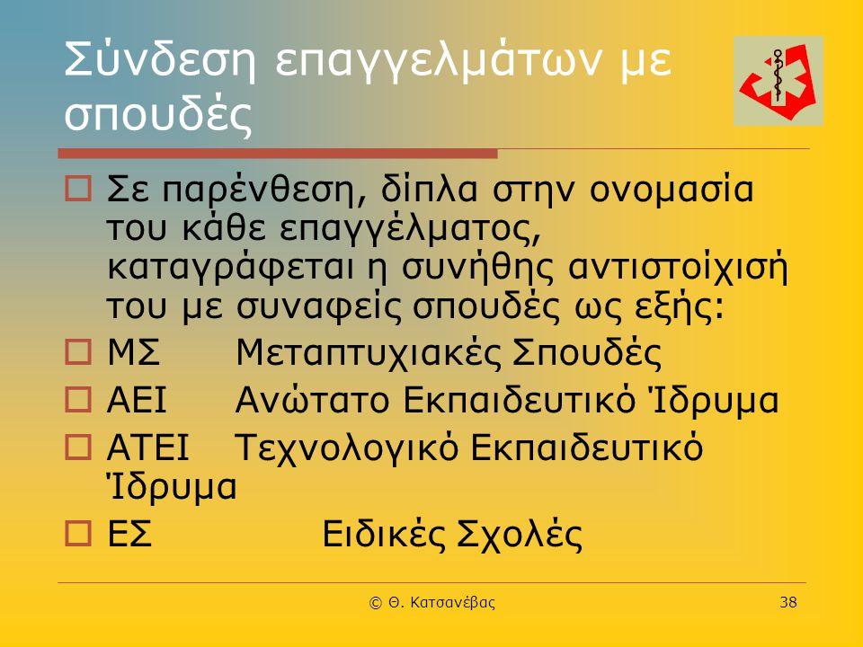 © Θ. Κατσανέβας38 Σύνδεση επαγγελμάτων με σπουδές  Σε παρένθεση, δίπλα στην ονομασία του κάθε επαγγέλματος, καταγράφεται η συνήθης αντιστοίχισή του μ