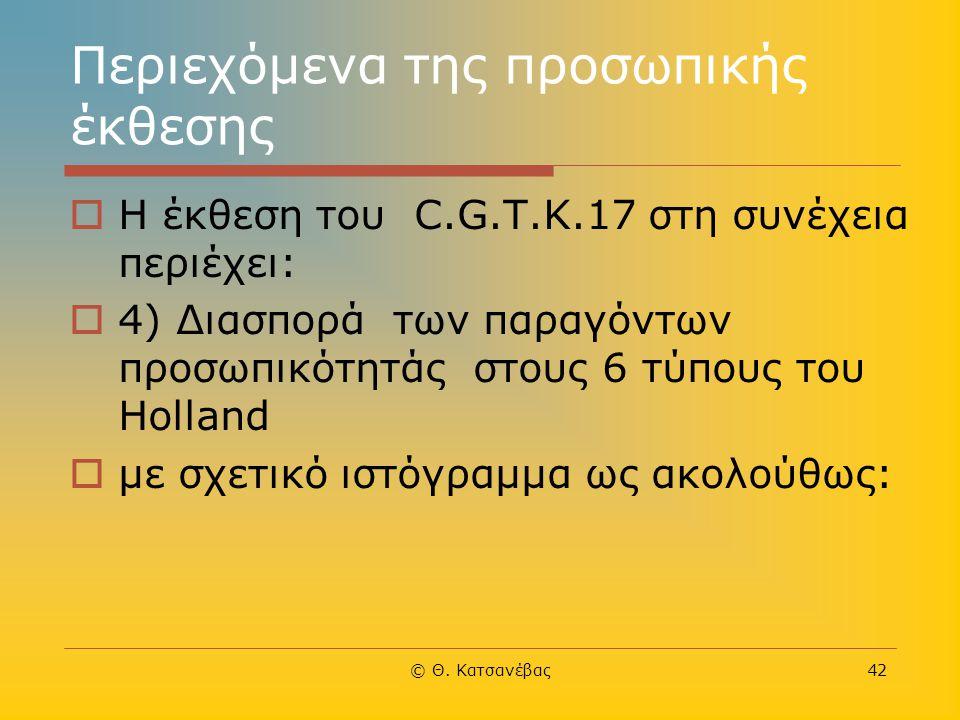 © Θ. Κατσανέβας42 Περιεχόμενα της προσωπικής έκθεσης  Η έκθεση του C.G.Τ.Κ.17 στη συνέχεια περιέχει:  4) Διασπορά των παραγόντων προσωπικότητάς στου