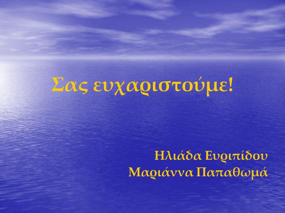 Σας ευχαριστούμε! Ηλιάδα Ευριπίδου Μαριάννα Παπαθωμά