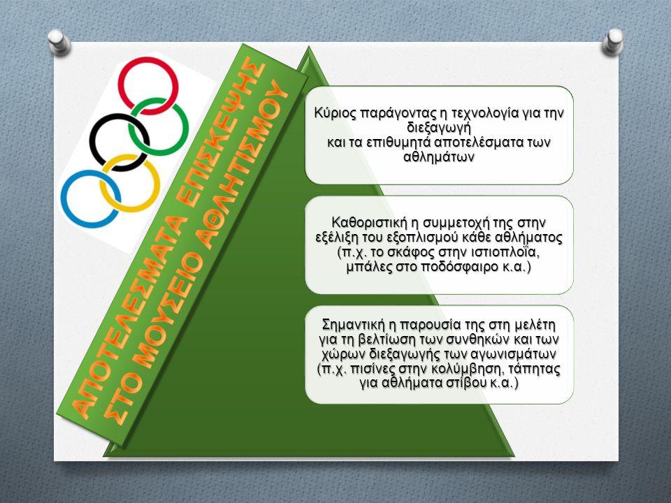Κύριος παράγοντας η τεχνολογία για την διεξαγωγή και τα επιθυμητά αποτελέσματα των αθλημάτων Καθοριστική η συμμετοχή της στην εξέλιξη του εξοπλισμού κάθε αθλήματος (π.χ.