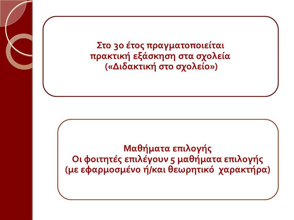 Στο 3 ο έτος π ραγματο π οιείται π ρακτική εξάσκηση στα σχολεία (« Διδακτική στο σχολείο ») Μαθήματα ε π ιλογής Οι φοιτητές ε π ιλέγουν 5 μαθήματα ε π ιλογής ( με εφαρμοσμένο ή / και θεωρητικό χαρακτήρα )