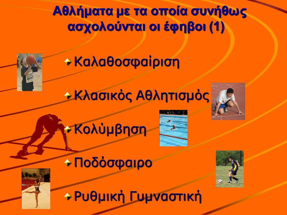 Αθλήματα με τα οποία συνήθως ασχολούνται οι έφηβοι (1) Αθλήματα με τα οποία συνήθως ασχολούνται οι έφηβοι (1) Καλαθοσφαίριση Κλασικός Αθλητισμός Κολύμ