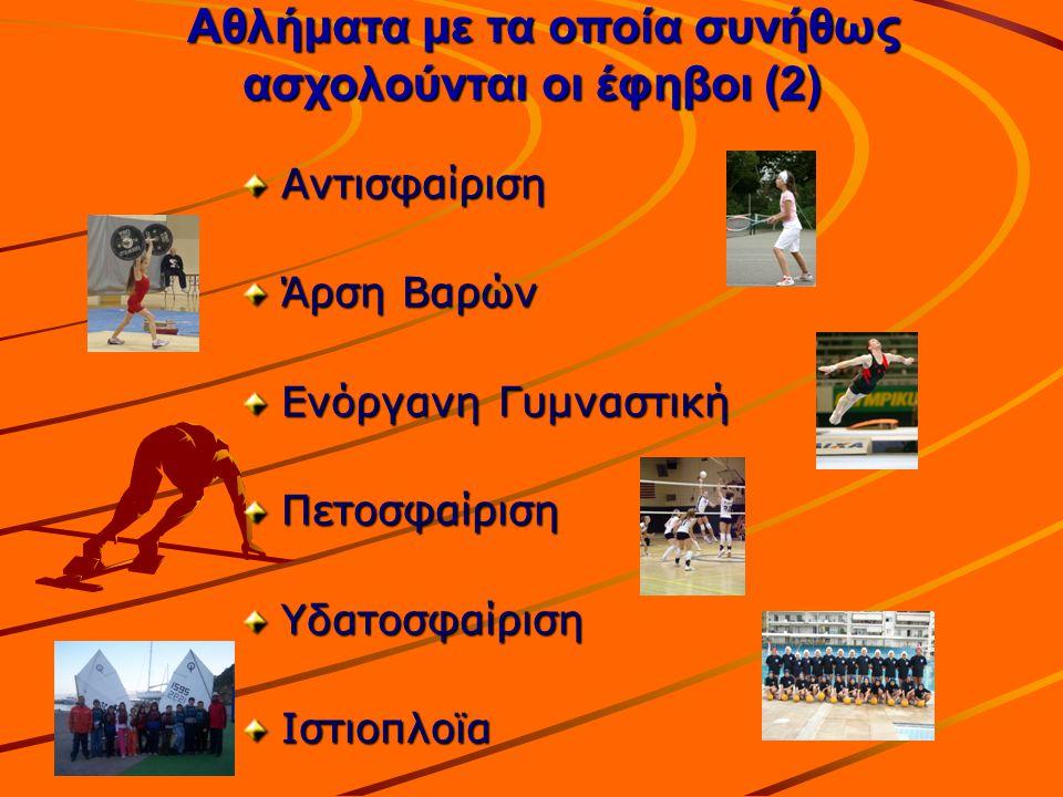 Αντισφαίριση Άρση Βαρών Ενόργανη Γυμναστική ΠετοσφαίρισηΥδατοσφαίρισηΙστιοπλοϊα Αθλήματα με τα οποία συνήθως ασχολούνται οι έφηβοι (2) Αθλήματα με τα