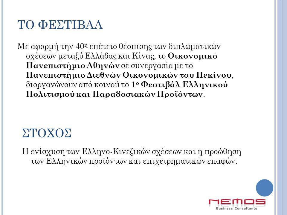 ΤΟ ΦΕΣΤΙΒΑΛ Με αφορμή την 40 η επέτειο θέσπισης των διπλωματικών σχέσεων μεταξύ Ελλάδας και Κίνας, το Οικονομικό Πανεπιστήμιο Αθηνών σε συνεργασία με το Πανεπιστήμιο Διεθνών Οικονομικών του Πεκίνου, διοργανώνουν από κοινού το 1 ο Φεστιβάλ Ελληνικού Πολιτισμού και Παραδοσιακών Προϊόντων.