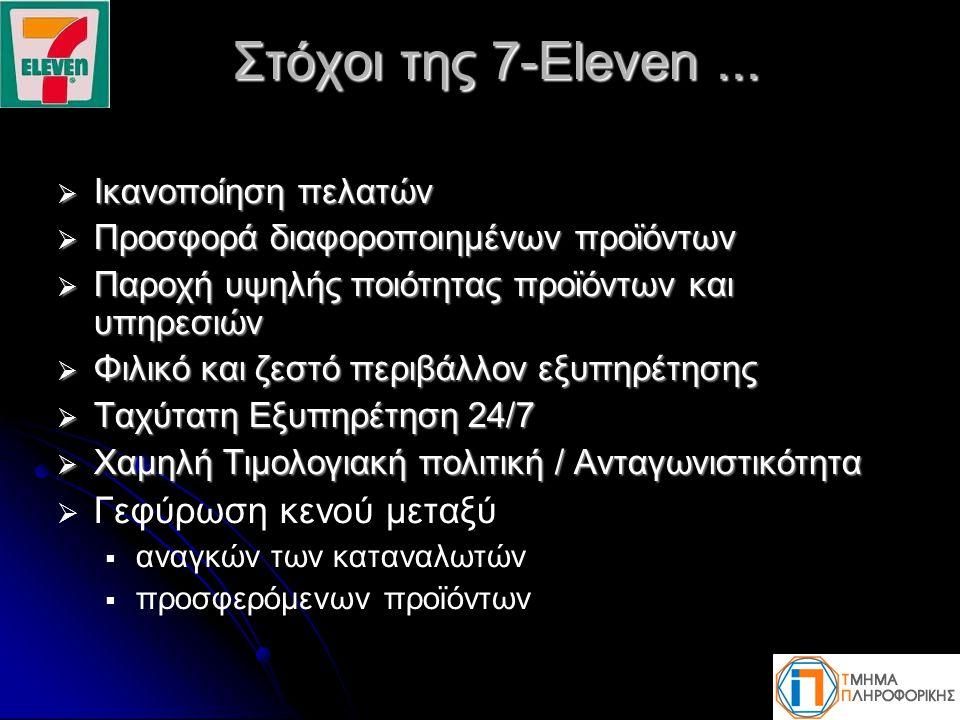 Στόχοι της 7-Eleven... Στόχοι της 7-Eleven...  Ικανοποίηση πελατών  Προσφορά διαφοροποιημένων προϊόντων  Παροχή υψηλής ποιότητας προϊόντων και υπηρ