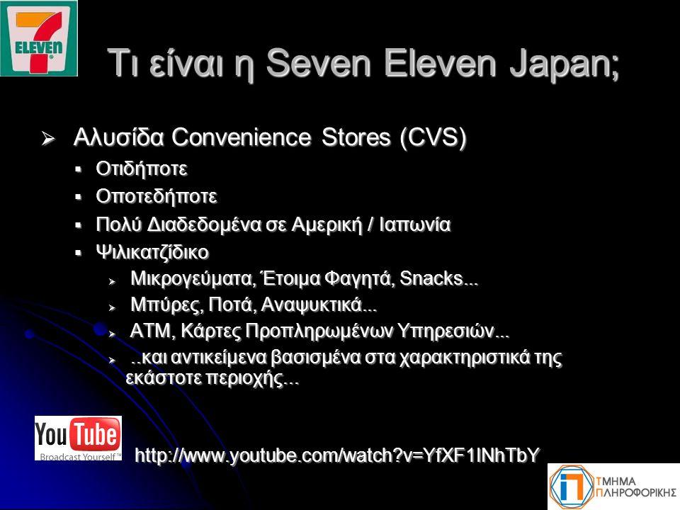 Τι είναι η Seven Eleven Japan; Τι είναι η Seven Eleven Japan;  Αλυσίδα Convenience Stores (CVS)  Οτιδήποτε  Οποτεδήποτε  Πολύ Διαδεδομένα σε Αμερ