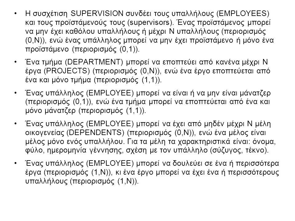 •Η συσχέτιση SUPERVISION συνδέει τους υπαλλήλους (EMPLOYEES) και τους προϊστάμενούς τους (supervisors). Ένας προϊστάμενος μπορεί να μην έχει καθόλου υ