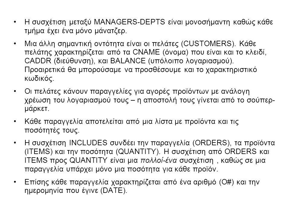 •Η συσχέτιση μεταξύ MANAGERS-DEPTS είναι μονοσήμαντη καθώς κάθε τμήμα έχει ένα μόνο μάνατζερ. •Μια άλλη σημαντική οντότητα είναι οι πελάτες (CUSTOMERS