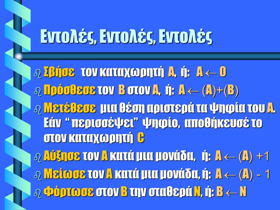 Εντολές, Εντολές, Εντολές  Σβήσε τον καταχωρητή Α, ή: Α  0  Πρόσθεσε τον Β στον Α, ή: Α  ( Α )+( Β )  Μετέθεσε μια θέση αριστερά τα ψηφία του Α.