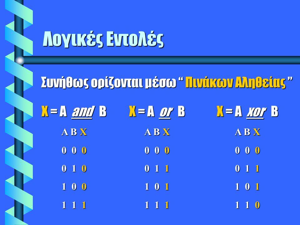 Λογικές Εντολές X = A and B A B X 0 0 0 0 1 0 1 0 0 1 1 1 X = A or B A B X 0 0 0 0 1 1 1 0 1 1 1 1 X = A xor B A B X 0 0 0 0 1 1 1 0 1 1 1 0 Συνήθως ορίζονται μέσω Πινάκων Αληθείας
