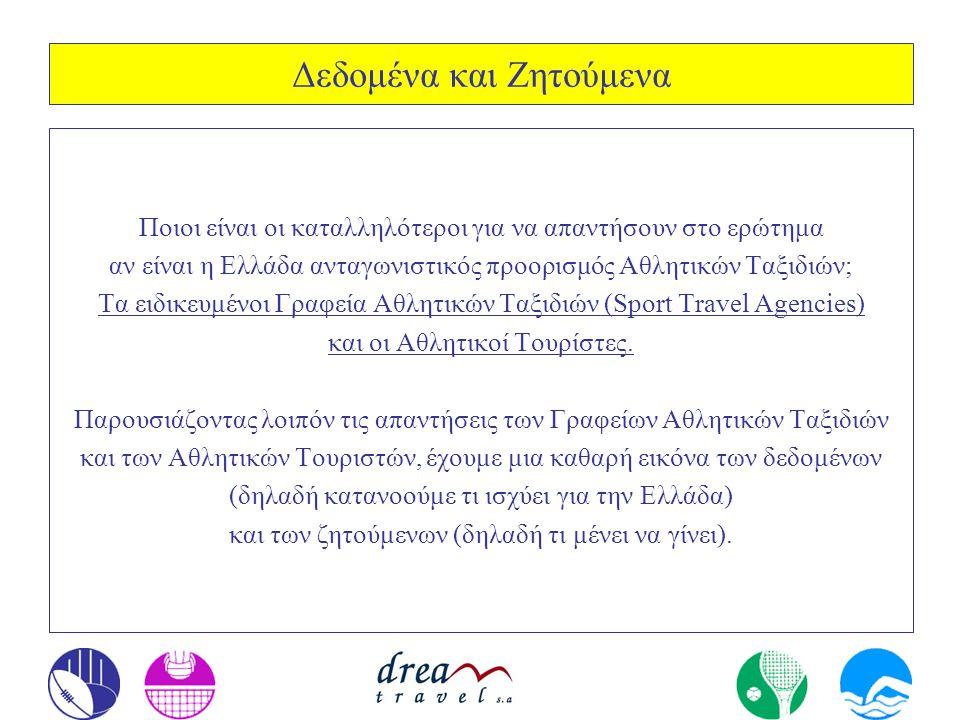 Δεδομένα και Ζητούμενα Ποιοι είναι οι καταλληλότεροι για να απαντήσουν στο ερώτημα αν είναι η Ελλάδα ανταγωνιστικός προορισμός Αθλητικών Ταξιδιών; Τα