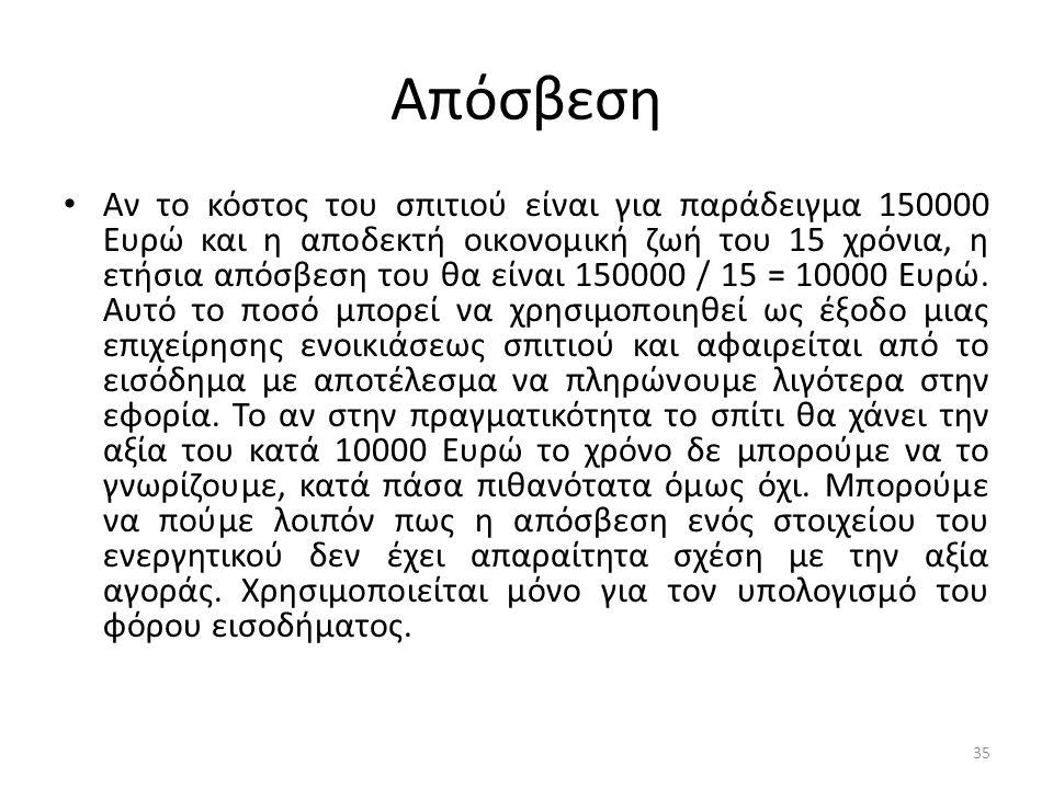 Απόσβεση • Αν το κόστος του σπιτιού είναι για παράδειγμα 150000 Ευρώ και η αποδεκτή οικονομική ζωή του 15 χρόνια, η ετήσια απόσβεση του θα είναι 15000