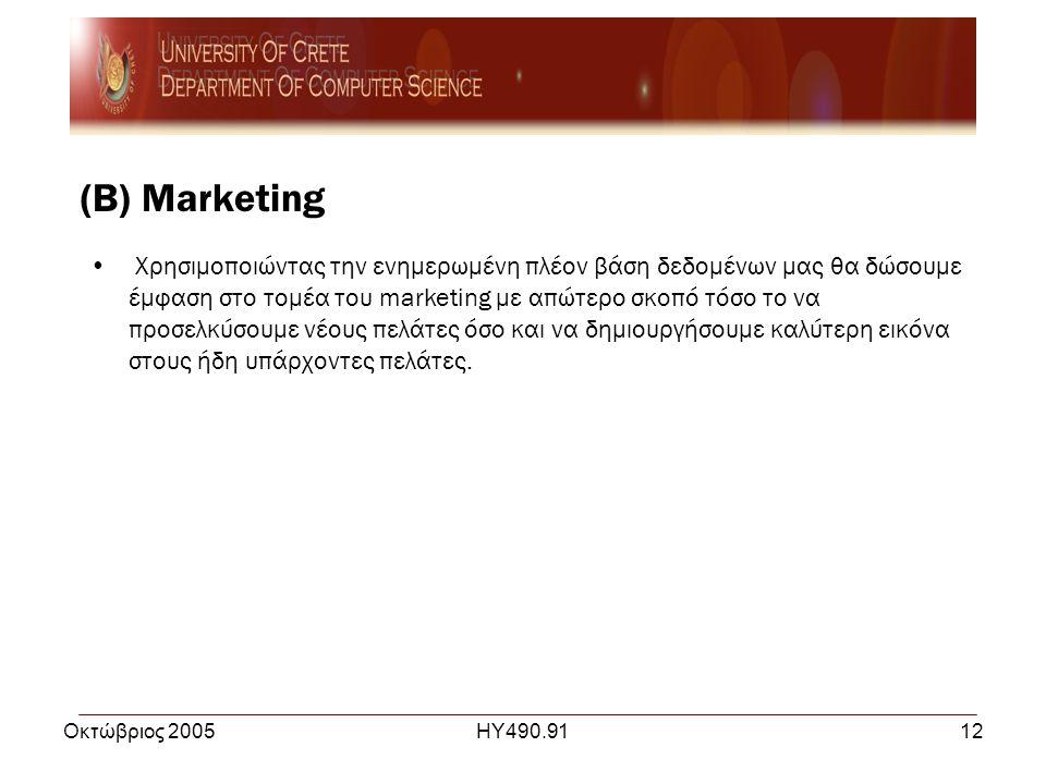 Οκτώβριος 2005ΗΥ490.9112 (Β) Marketing • Χρησιμοποιώντας την ενημερωμένη πλέον βάση δεδομένων μας θα δώσουμε έμφαση στο τομέα του marketing με απώτερο σκοπό τόσο το να προσελκύσουμε νέους πελάτες όσο και να δημιουργήσουμε καλύτερη εικόνα στους ήδη υπάρχοντες πελάτες.
