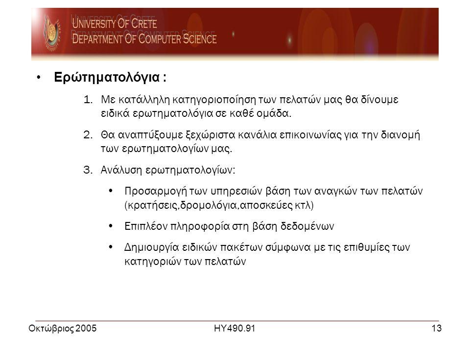Οκτώβριος 2005ΗΥ490.9113 •Ερώτηματολόγια : 1.Με κατάλληλη κατηγοριοποίηση των πελατών μας θα δίνουμε ειδικά ερωτηματολόγια σε καθέ ομάδα.