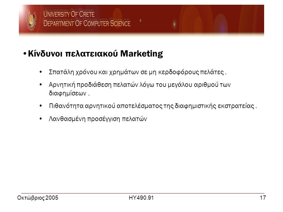 Οκτώβριος 2005ΗΥ490.9117 •Κίνδυνοι πελατειακού Marketing •Σπατάλη χρόνου και χρημάτων σε μη κερδοφόρους πελάτες.