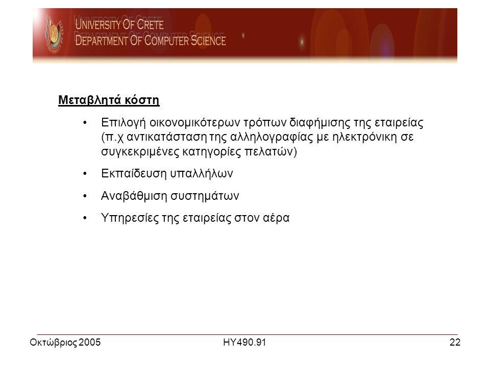 Οκτώβριος 2005ΗΥ490.9122 Μεταβλητά κόστη •Επιλογή οικονομικότερων τρόπων διαφήμισης της εταιρείας (π.χ αντικατάσταση της αλληλογραφίας με ηλεκτρόνικη σε συγκεκριμένες κατηγορίες πελατών) •Εκπαίδευση υπαλλήλων •Αναβάθμιση συστημάτων •Υπηρεσίες της εταιρείας στον αέρα