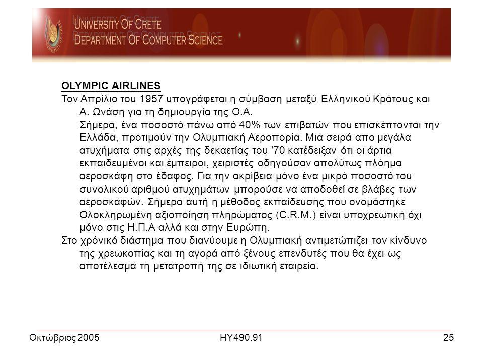 Οκτώβριος 2005ΗΥ490.9125 OLYMPIC AIRLINES Τον Απρίλιο του 1957 υπογράφεται η σύμβαση μεταξύ Ελληνικού Κράτους και Α.