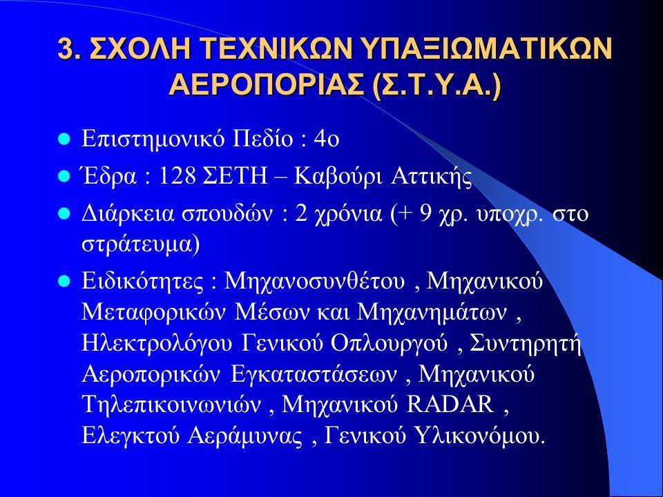 3. ΣΧΟΛΗ ΤΕΧΝΙΚΩΝ ΥΠΑΞΙΩΜΑΤΙΚΩΝ ΑΕΡΟΠΟΡΙΑΣ (Σ.Τ.Υ.Α.)  Επιστημονικό Πεδίο : 4ο  Έδρα : 128 ΣΕΤΗ – Καβούρι Αττικής  Διάρκεια σπουδών : 2 χρόνια (+ 9