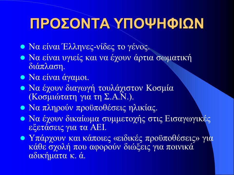 ΠΡΟΣΟΝΤΑ ΥΠΟΨΗΦΙΩΝ  Να είναι Έλληνες-νίδες το γένος.  Να είναι υγιείς και να έχουν άρτια σωματική διάπλαση.  Να είναι άγαμοι.  Να έχουν διαγωγή το