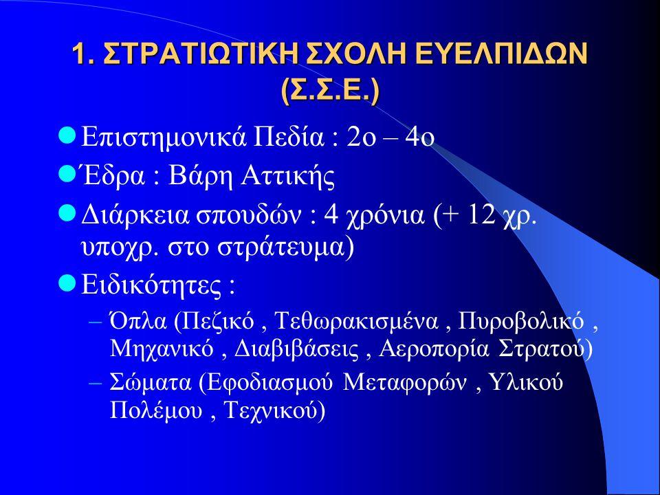1. ΣΤΡΑΤΙΩΤΙΚΗ ΣΧΟΛΗ ΕΥΕΛΠΙΔΩΝ (Σ.Σ.Ε.)  Επιστημονικά Πεδία : 2ο – 4ο  Έδρα : Βάρη Αττικής  Διάρκεια σπουδών : 4 χρόνια (+ 12 χρ. υποχρ. στο στράτε