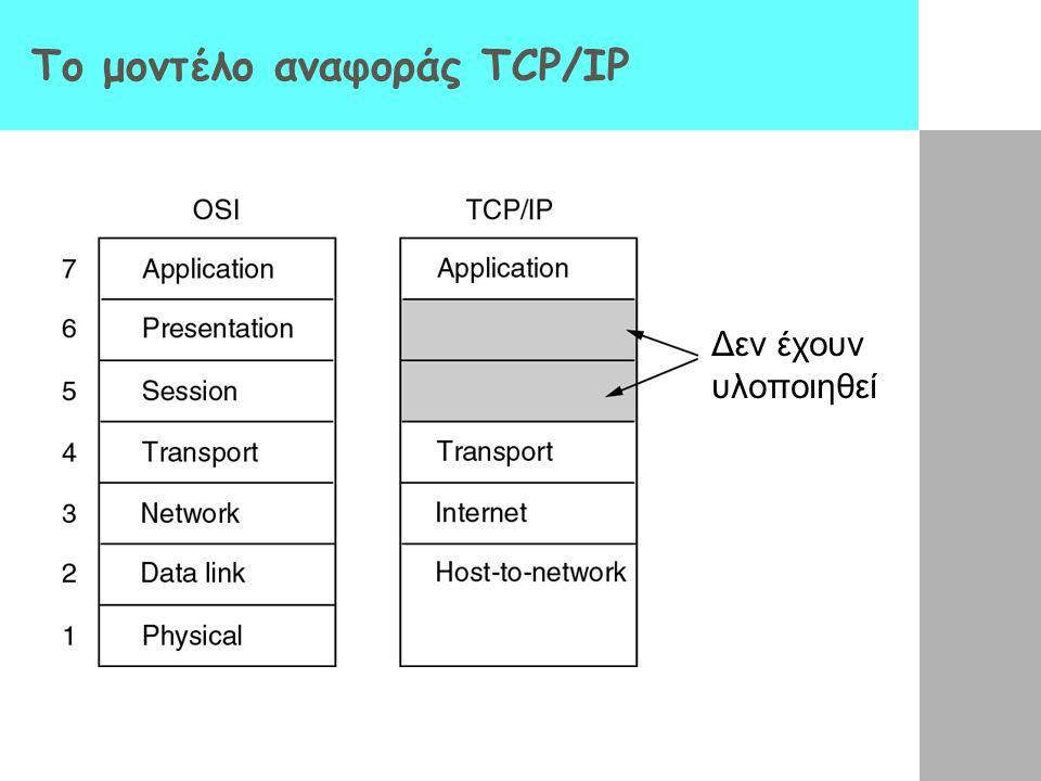 To μοντέλο αναφοράς TCP/IP Δεν έχουν υλοποιηθεί