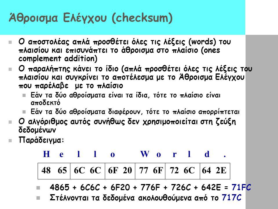 Άθροισμα Ελέγχου (checksum)  Ο αποστολέας απλά προσθέτει όλες τις λέξεις (words) του πλαισίου και επισυνάπτει το άθροισμα στο πλαίσιο (ones complemen