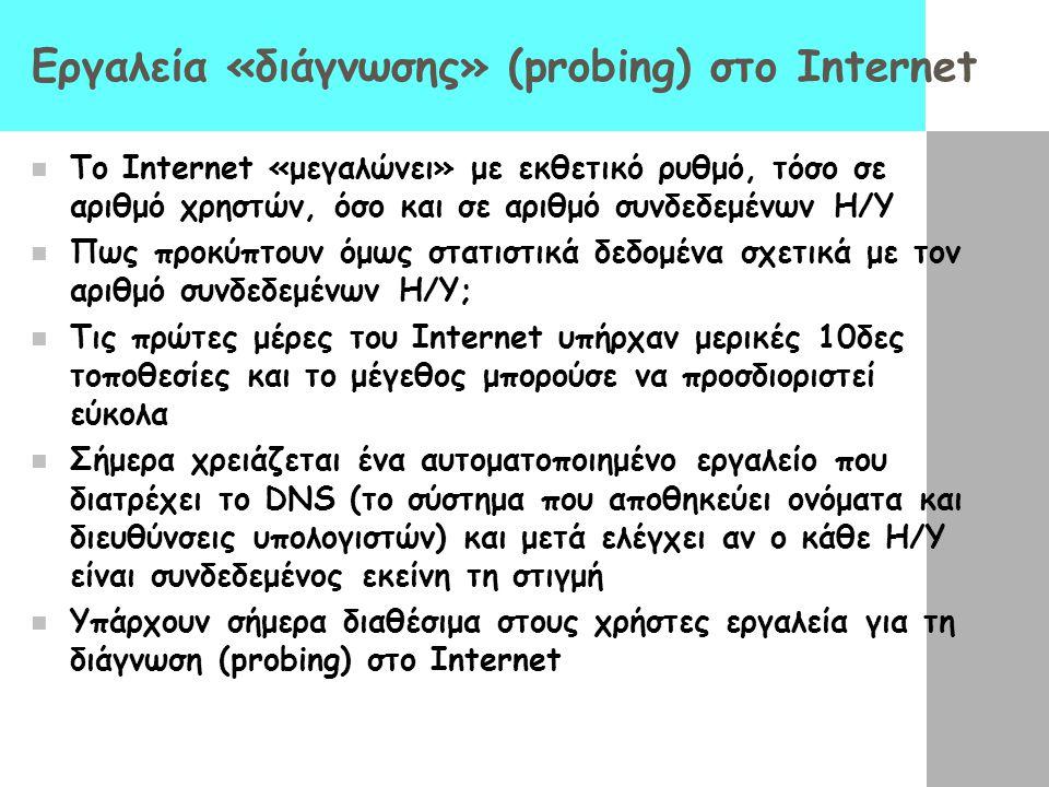 Εργαλεία «διάγνωσης» (probing) στο Internet  Το Internet «μεγαλώνει» με εκθετικό ρυθμό, τόσο σε αριθμό χρηστών, όσο και σε αριθμό συνδεδεμένων Η/Υ 
