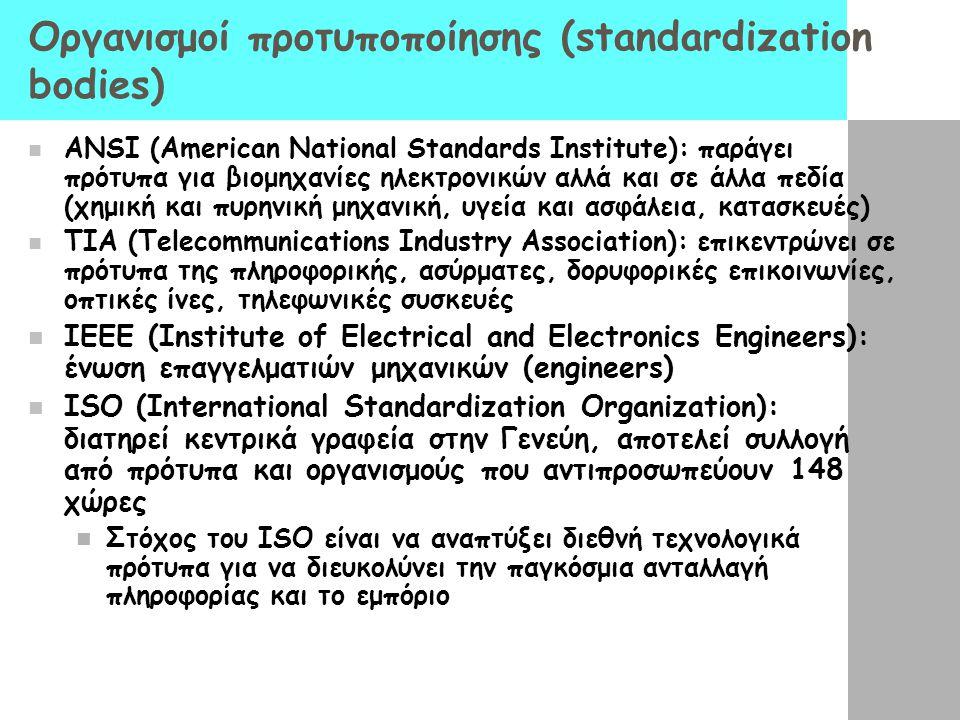 Οργανισμοί προτυποποίησης (standardization bodies)  ANSI (American National Standards Institute): παράγει πρότυπα για βιομηχανίες ηλεκτρονικών αλλά κ