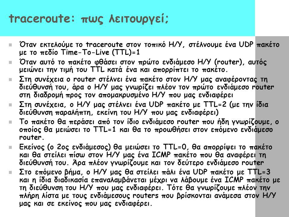 traceroute: πως λειτουργεί;  Όταν εκτελούμε το traceroute στον τοπικό Η/Υ, στέλνουμε ένα UDP πακέτο με το πεδίο Time-To-Live (TTL)=1  Όταν αυτό το π