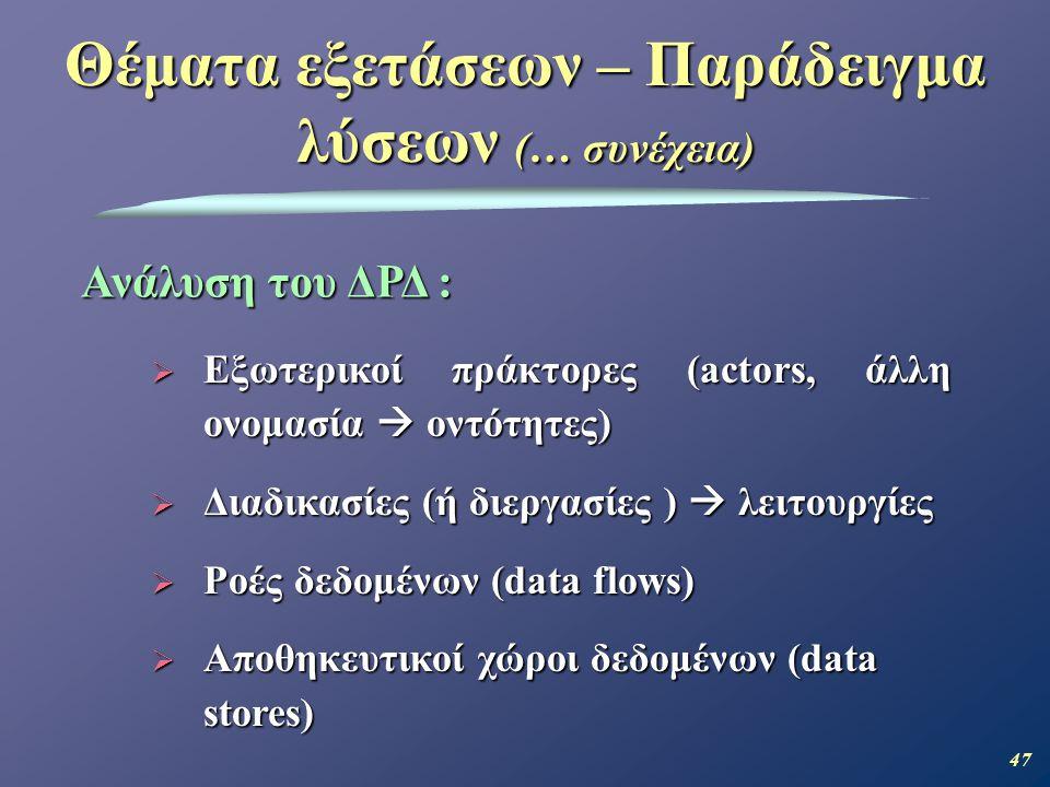 47 Θέματα εξετάσεων – Παράδειγμα λύσεων (… συνέχεια) Ανάλυση του ΔΡΔ :  Εξωτερικοί πράκτορες (actors, άλλη ονομασία  οντότητες)  Διαδικασίες (ή διεργασίες )  λειτουργίες  Ροές δεδομένων (data flows)  Αποθηκευτικοί χώροι δεδομένων (data stores)