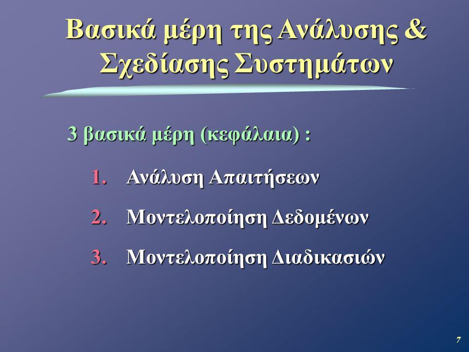 7 Βασικά μέρη της Ανάλυσης & Σχεδίασης Συστημάτων 1.Ανάλυση Απαιτήσεων 2.Μοντελοποίηση Δεδομένων 3.Μοντελοποίηση Διαδικασιών 3 βασικά μέρη (κεφάλαια) :