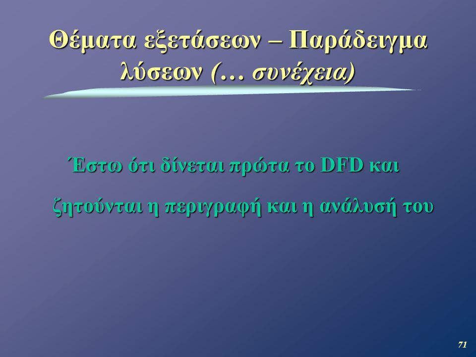 71 Έστω ότι δίνεται πρώτα το DFD και ζητούνται η περιγραφή και η ανάλυσή του Θέματα εξετάσεων – Παράδειγμα λύσεων (… συνέχεια)
