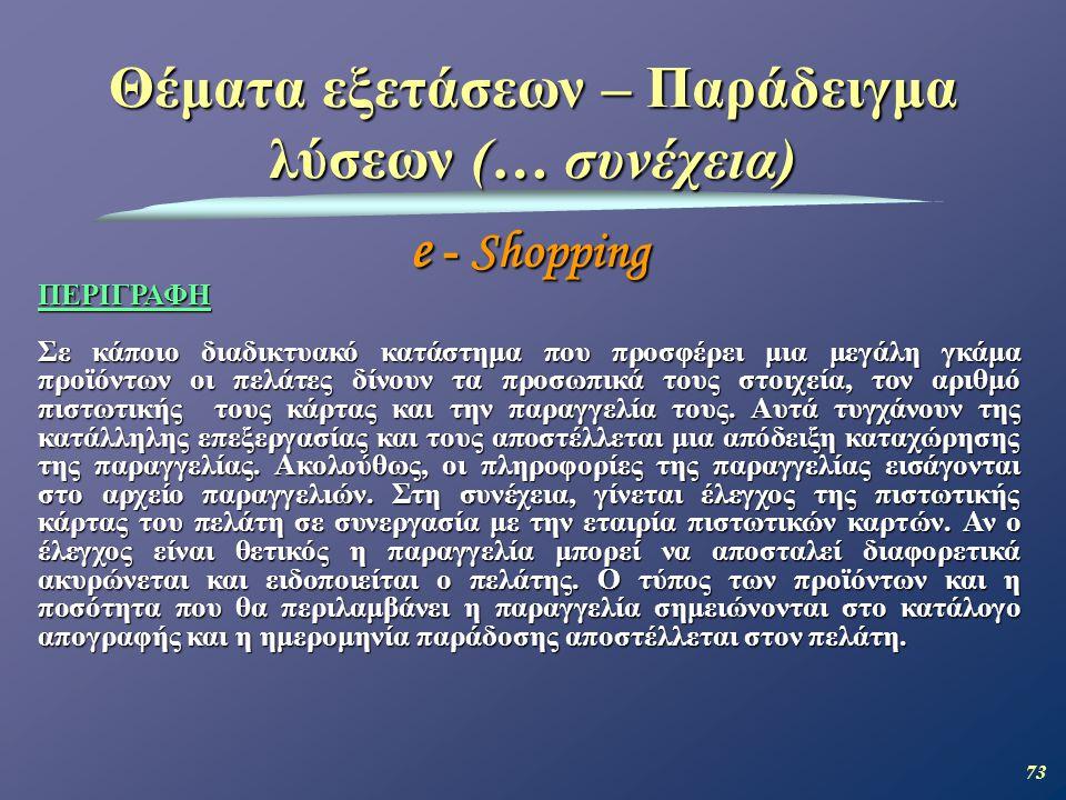 73 Θέματα εξετάσεων – Παράδειγμα λύσεων (… συνέχεια) e - Shopping ΠΕΡΙΓΡΑΦΗ Σε κάποιο διαδικτυακό κατάστημα που προσφέρει μια μεγάλη γκάμα προϊόντων οι πελάτες δίνουν τα προσωπικά τους στοιχεία, τον αριθμό πιστωτικής τους κάρτας και την παραγγελία τους.