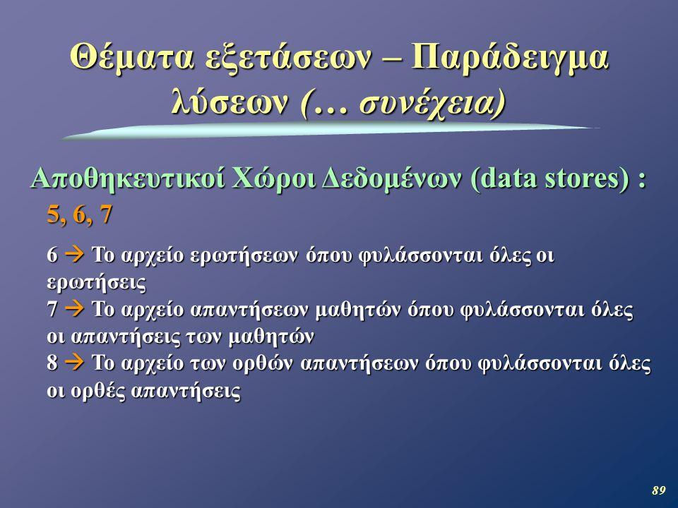 89 Θέματα εξετάσεων – Παράδειγμα λύσεων (… συνέχεια) Αποθηκευτικοί Χώροι Δεδομένων (data stores) : 5, 6, 7 6  Το αρχείο ερωτήσεων όπου φυλάσσονται όλες οι ερωτήσεις 7  Το αρχείο απαντήσεων μαθητών όπου φυλάσσονται όλες οι απαντήσεις των μαθητών 8  Το αρχείο των ορθών απαντήσεων όπου φυλάσσονται όλες οι ορθές απαντήσεις