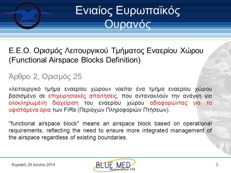 Κυριακή, 29 Ιουνίου 2014 Ε.Ε.Ο. Ορισμός Λειτουργικού Τμήματος Εναερίου Χώρου (Functional Airspace Blocks Definition) Άρθρο 2, Ορισμός 25 «λειτουργικό
