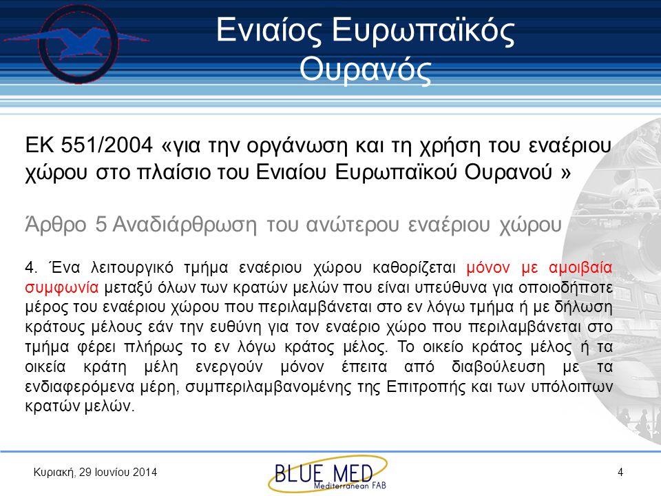 Κυριακή, 29 Ιουνίου 2014 ΕΚ 551/2004 «για την οργάνωση και τη χρήση του εναέριου χώρου στο πλαίσιο του Ενιαίου Ευρωπαϊκού Ουρανού » Άρθρο 5 Αναδιάρθρω