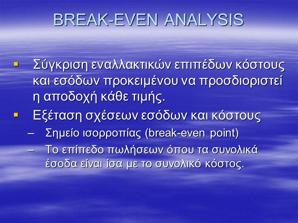 BREAK-EVEN ANALYSIS  Σύγκριση εναλλακτικών επιπέδων κόστους και εσόδων προκειμένου να προσδιοριστεί η αποδοχή κάθε τιμής.  Εξέταση σχέσεων εσόδων κα
