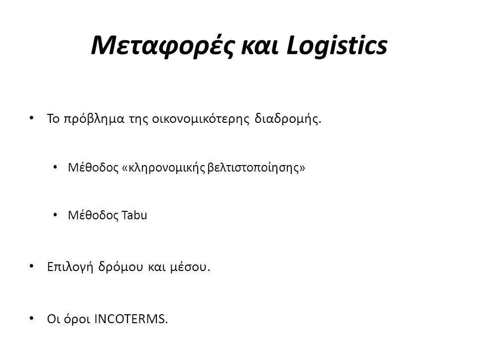 Μεταφορές και Logistics • Το πρόβλημα της οικονομικότερης διαδρομής. • Μέθοδος «κληρονομικής βελτιστοποίησης» • Μέθοδος Tabu • Επιλογή δρόμου και μέσο