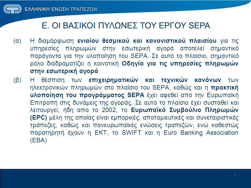 6 (α) Η διαμόρφωση ενιαίου θεσμικού και κανονιστικού πλαισίου για τις υπηρεσίες πληρωμών στην εσωτερική αγορά αποτελεί σημαντικό παράγοντα για την υλοποίηση του SEPA.