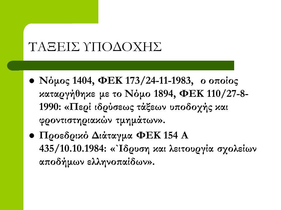 ΤΑΞΕΙΣ ΥΠΟΔΟΧΗΣ  Νόμος 1404, ΦΕΚ 173/24-11-1983, ο οποίος καταργήθηκε με το Νόμο 1894, ΦΕΚ 110/27-8- 1990: «Περί ιδρύσεως τάξεων υποδοχής και φροντισ