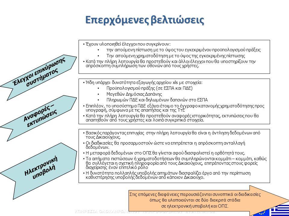 Επερχόμενες βελτιώσεις • Έχουν υλοποιηθεί έλεγχοι που συγκρίνουν: • την αιτούμενη πίστωση με το ύψος του εγκεκριμένου προϋπολογισμού πράξεις • Την αιτ